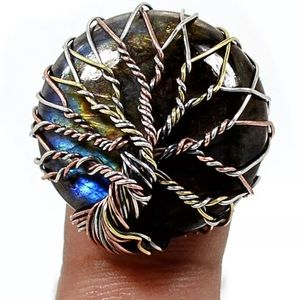 Wire Wrapped Tree Of Life Labradorite 925 Ring